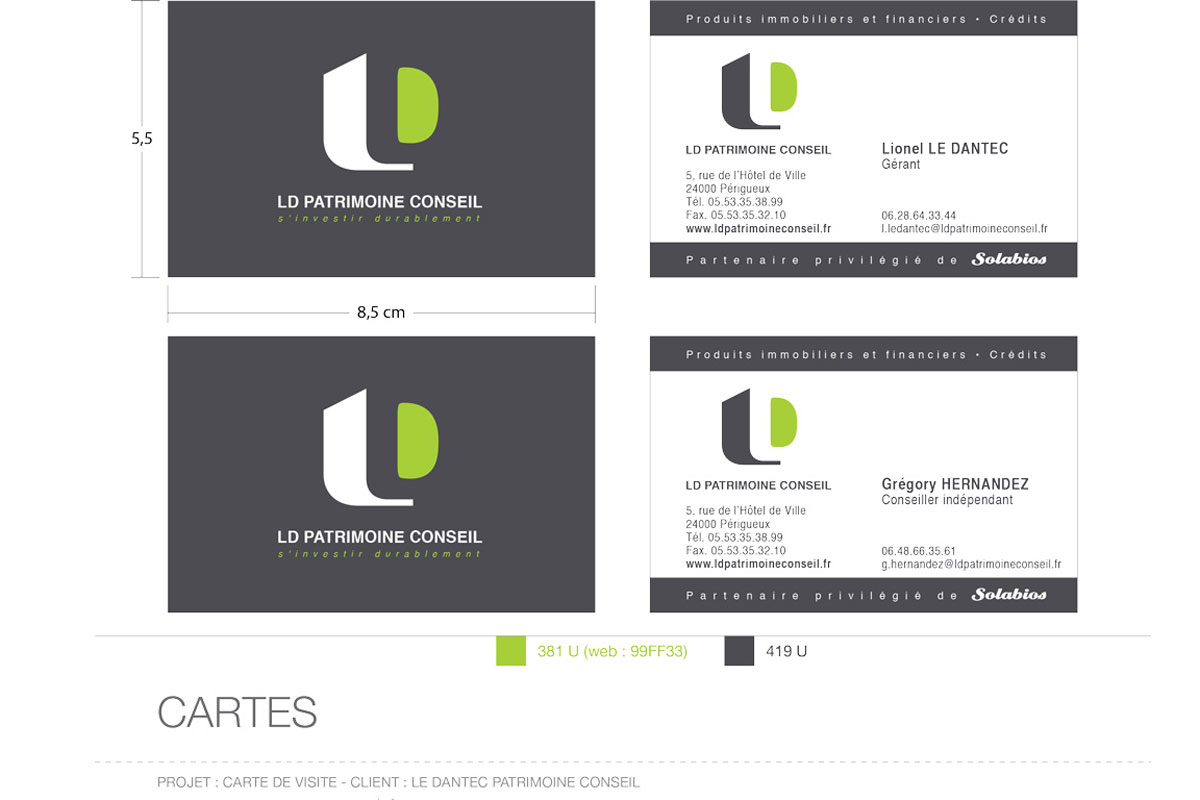 Logo LD Patrimoine Conseil Cartes De Visite